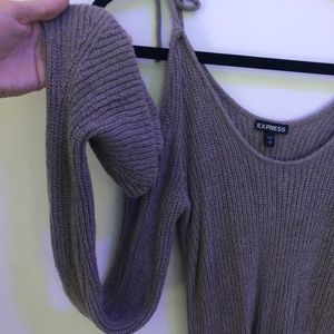 Express Tops - EXPRESS Gray Long Sleeved Top w/ Tied Shoulders